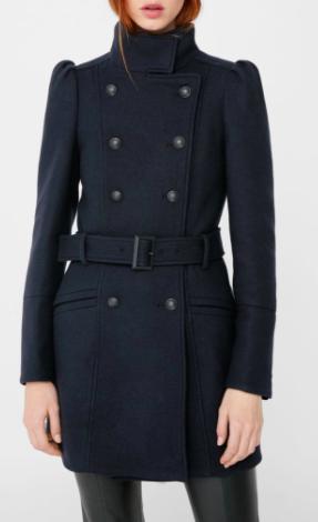Mango Puffed-shoulder wool coat