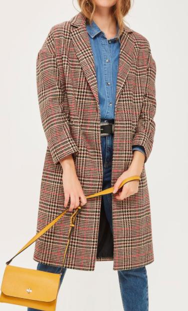 Topshop Longline Checked Coat