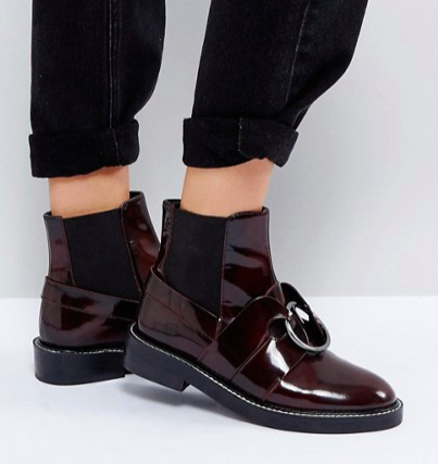 ASOS ADEL Leather Ring Ankle Boots