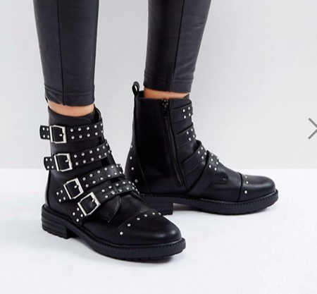 Boohoo Studded Buckle Biker Boot