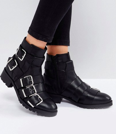 ASOS AGILE Leather Multi Buckle Boots