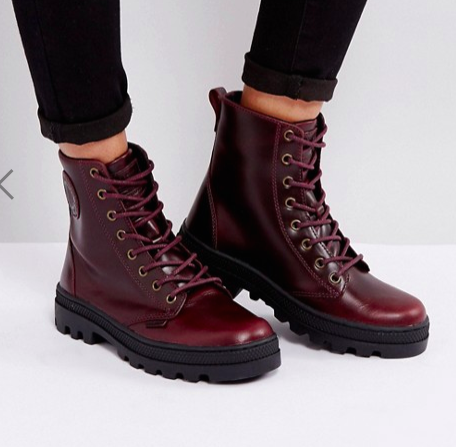 Palladium Pallabosse Regal Burgandy Leather Flat Ankle Boots