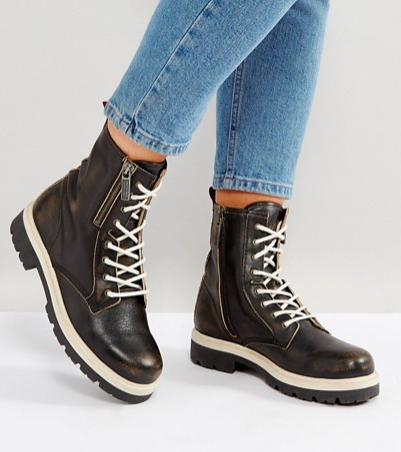 Tommy Hilfiger Denim Burnished Hiker Boot with Zip
