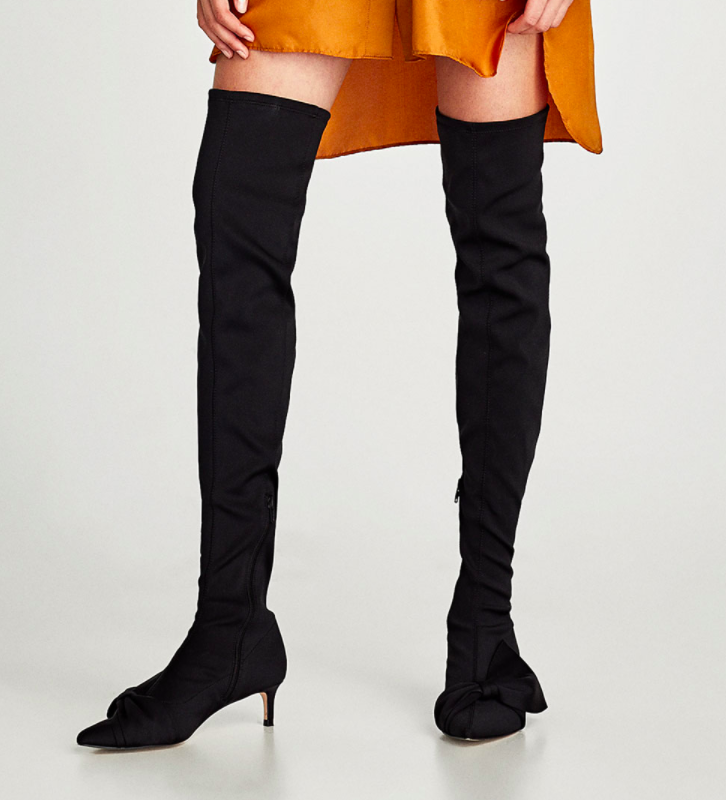 Zara OVER-THE-KNEE HIGH HEEL BOOTS WITH BOWS