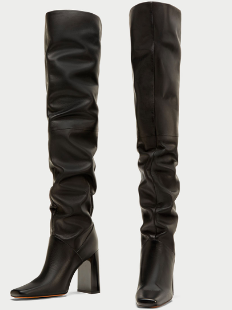 Zara OVER-THE-KNEE HIGH HEEL LEATHER BOOTS