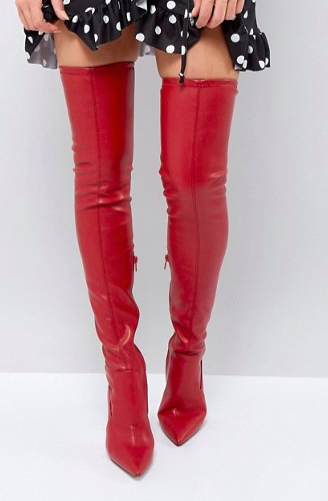 River Island Leather Look Over The Knee Heeled Boots