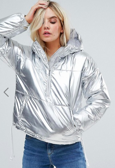 Noisy May Petite Metallic Puffer Jacket