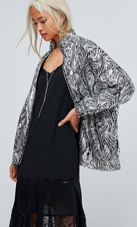 Religion High Neck Jacket In Sequin