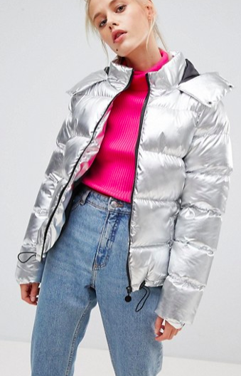 E.L.K Oversized Puffer Jacket In Metallic
