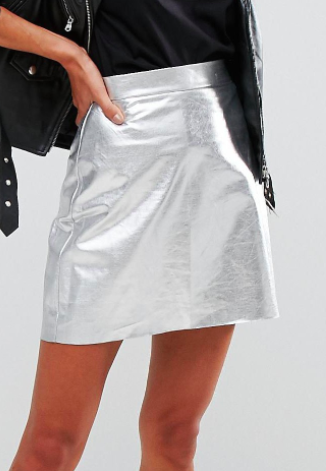 Vero Moda High Shine Metallic Mini Skirt