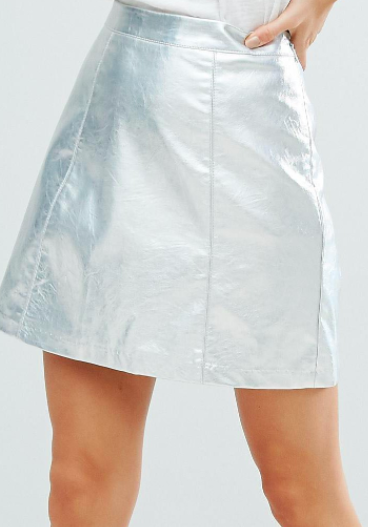 New Look Silver Metallic Mini Skirt