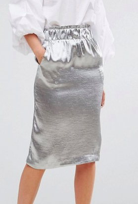 Lost Ink Pencil Skirt In Hammered Satin