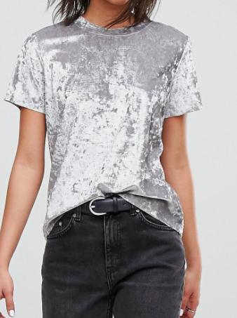 Dr Denim Crushed Velvet T-shirt