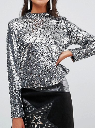 Boohoo High Neck Sequin Top