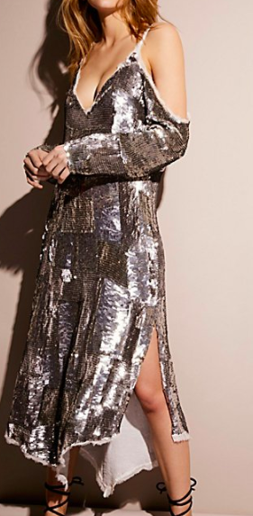 Sequin Cold Shoulder Midi Dress