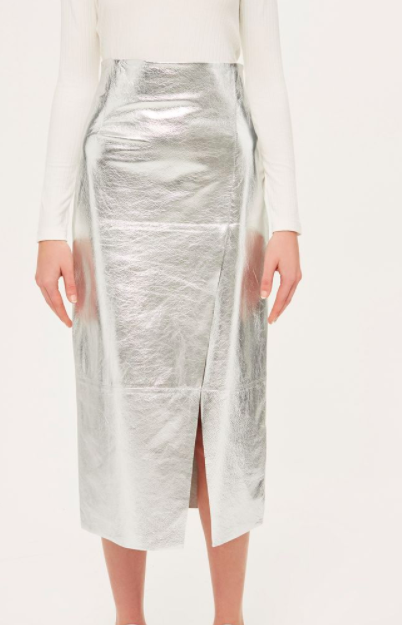 Leather Foil Asymmetric Skirt by Boutique