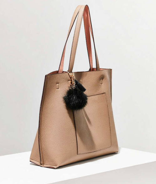 UO Reversible Pompom Tote Bag