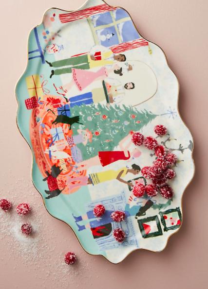 Anthropologie Holiday Spirit Platter
