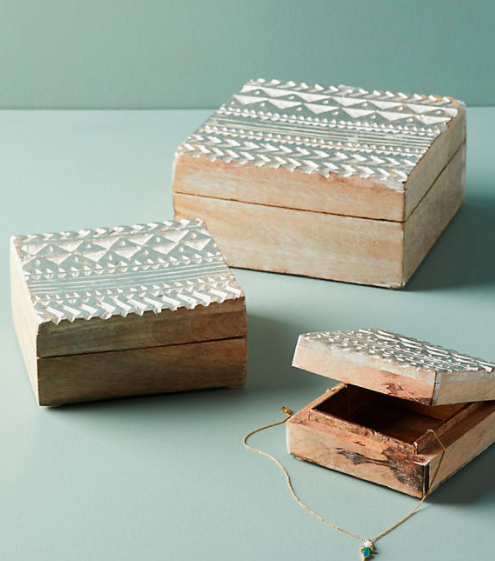 Embossed Wood Jewelry Box Set