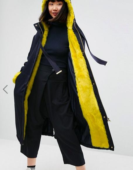 ASOS WHITE Faux Fur Lined Oversized Satin Parka
