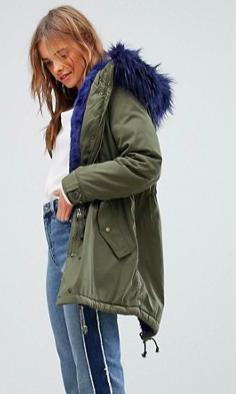 Bershka Parka Coat With Faux Fur Hood And Trim