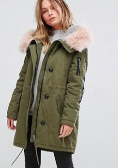 Vero Moda Contrast Faux Fur Parka