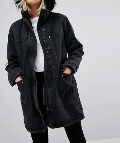 ASOS Denim Parka With Fleece Lining in Washed Black