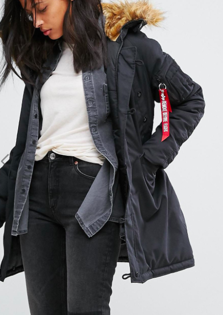 Alpha Industries Explorer Parka Coat with Faux Fur Hood