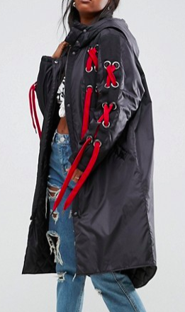 ASOS Parka with Eyelet and Lace Up