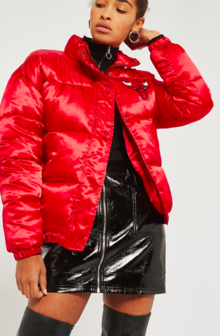 TOPSHOP Chicago Bulls Puffer Jacket by UNK x Topshop