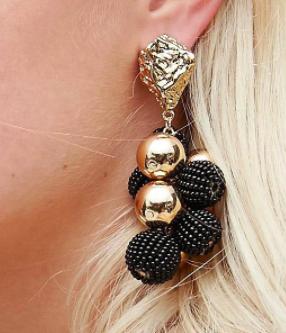 ASOS Metal Nugget & Bead Drop Earrings