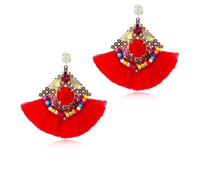 KING Crystal Beaded Tassel Dangle Earrings Vintage Statement Tassel Dangle Earrings for Women
