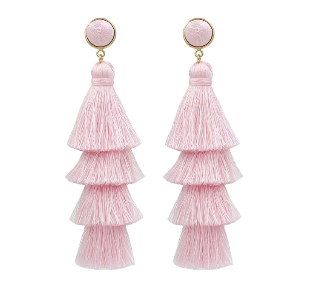 Darget Fashion Jewelry Tassel Earrings w/ Tiered Thread Multi Layered Pendant Dangle Drop Earring