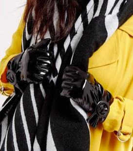 ASOS Black Patent Buckle Glove With Touch Screen