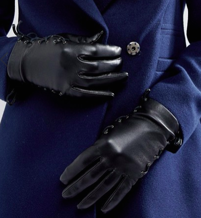 ASOS Leather Gloves with Side Tie Up an Touch Screen