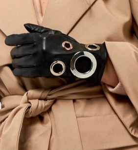 ASOS Black Leather Eyelet Glove With Touch Screen