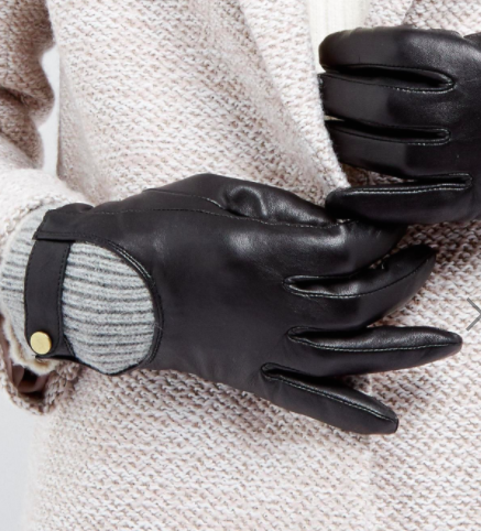 ASOS Leather Glove with Rib Cuff and Touch Screen