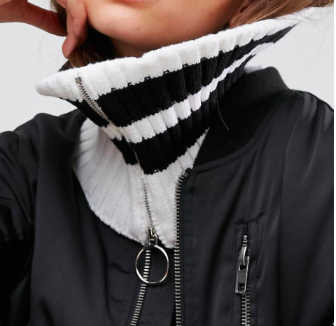 ASOS Short Zip Up Infinity scarf With Stripes