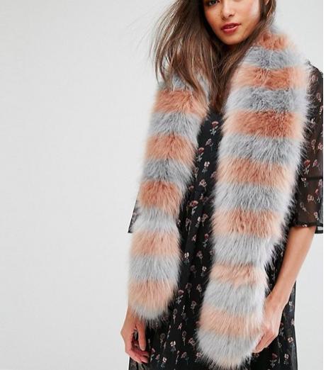 My Accessories Striped Faux Fur Scarf