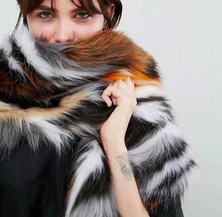 ASOS Faux Fur 80s Multi Patchwork Scarf