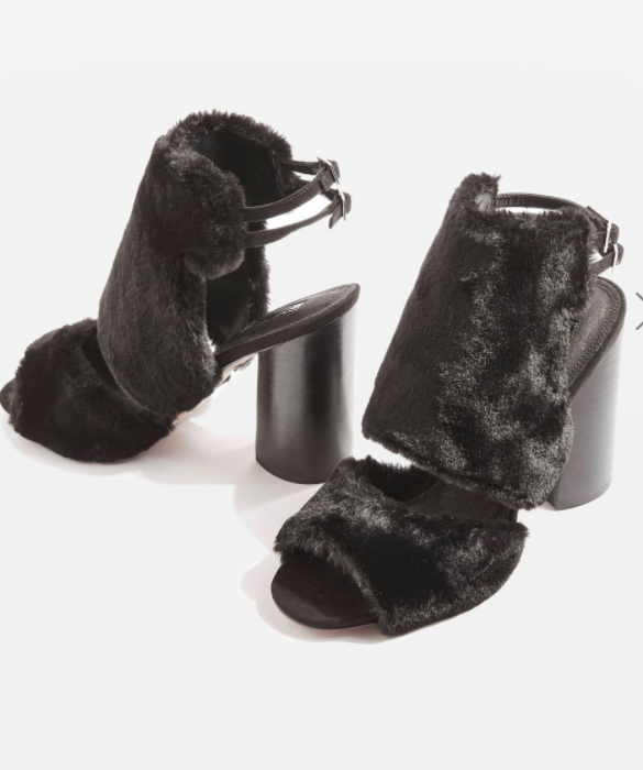 Topshop Rascal Faux Fur Sandals