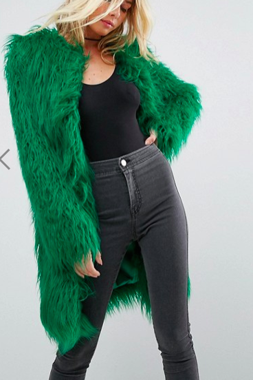 ASOS Midi Coat in Bright Mongolian Faux Fur