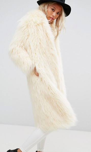 Religion Maxi Coat In Faux Mongolian Fur