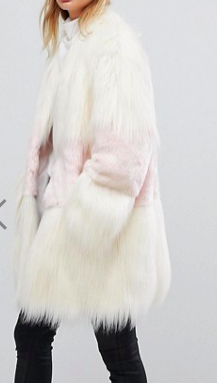 vFrench Connection Faux Fur Mix Match Coat