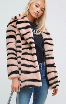 Jakke Mid Length Faux Fur Coat In Animal Stripe