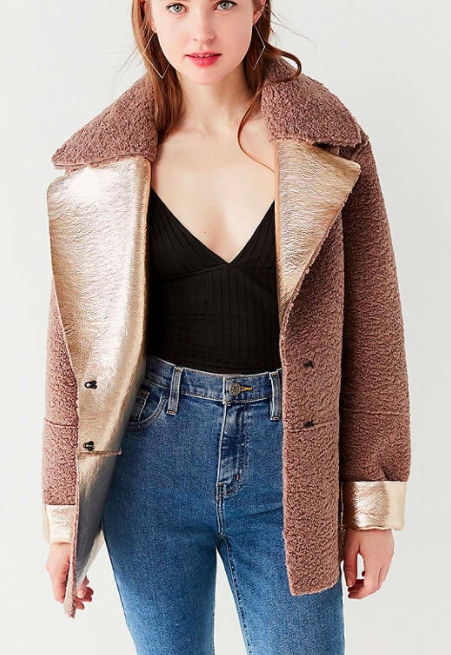 UO Reversible Metallic Faux Shearling Jacket