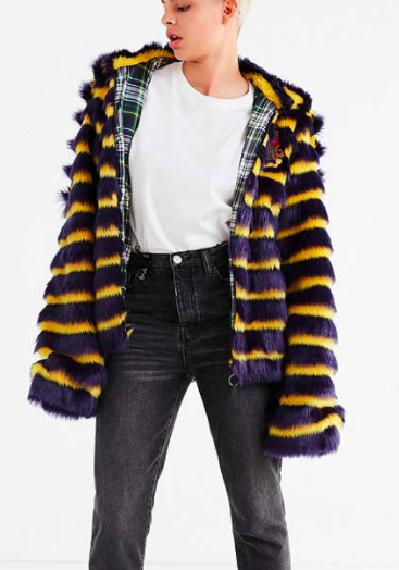 Puma Fenty by Rihanna Faux Fur Striped Jacket
