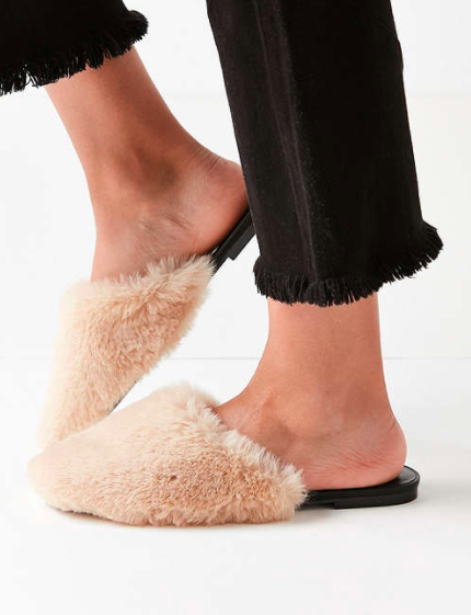 UO Faux Fur Mule Slide