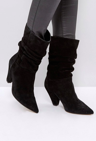 ASOS CIANNA Suede Slouch Cone Heel Boots