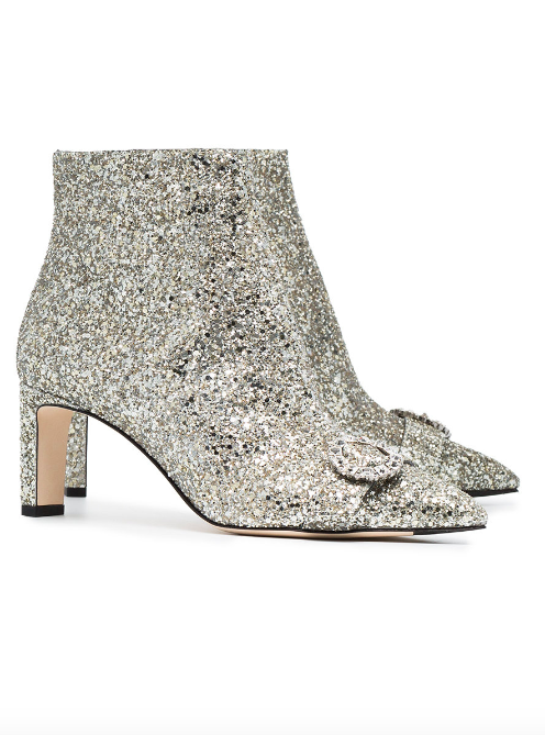 JIMMY CHOO Silver Glitter Hanover 65 boots